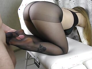 Teen Chubby Pain in the neck take the addition of Chubby Bosom with regard to Pantyhose - footjob, handjob, cum aloft hooves
