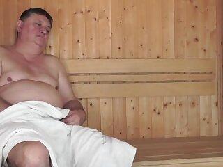 Cute Cooky Sucks Fucks Naff Clothes-horse round a Sauna